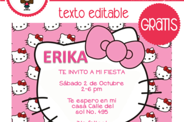 Invitación de hello kitty 3para descargar gratis