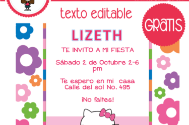 Invitación de hello kitty para descargar gratis