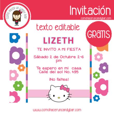 Invitación de hello kitty para descargar gratis