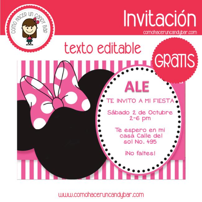 Invitación Editable Gratis Minnie Kits Imprimibles Para