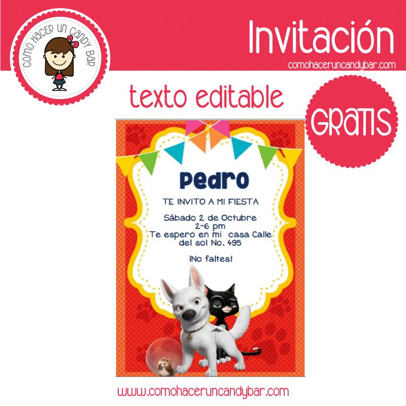 Invitación de el perro bolt para descargar gratis
