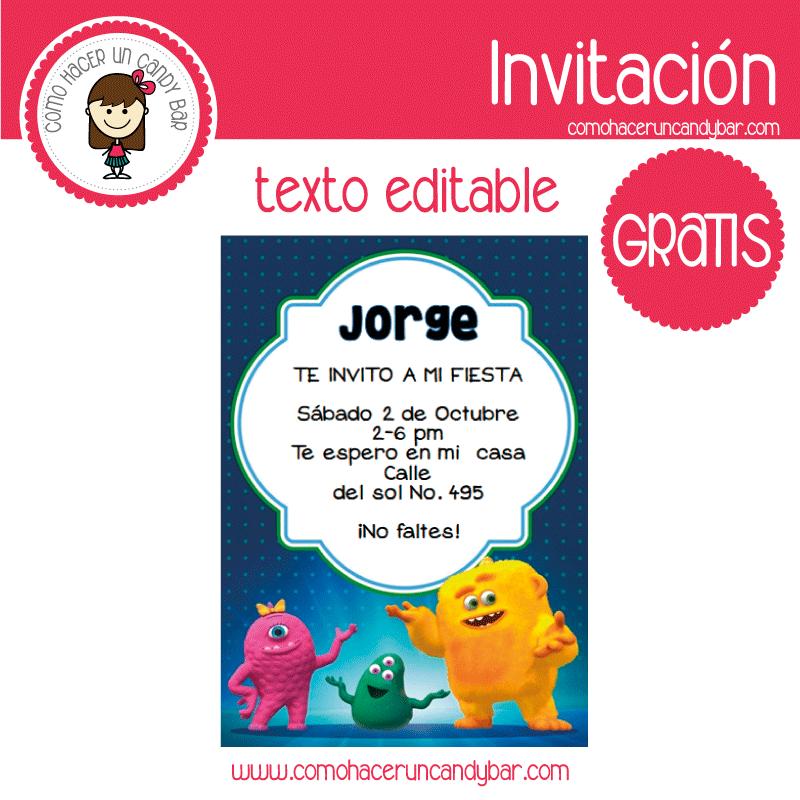 Imprimible para fiesta infantil gratis: Invitacion de Monstruos