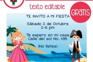 Invitación de pirata y princesa para descargar gratis
