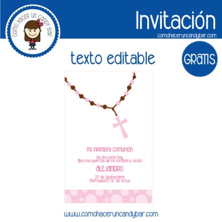 Invitación de primera comunion niña 6 para descargar gratis