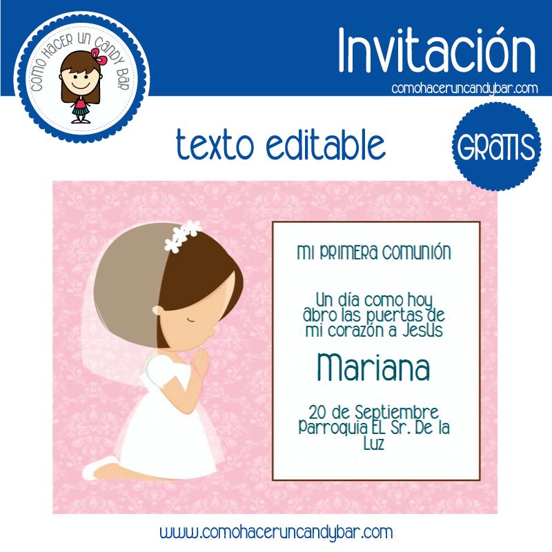 Invitación de primera comunion niña 7 para descargar gratis