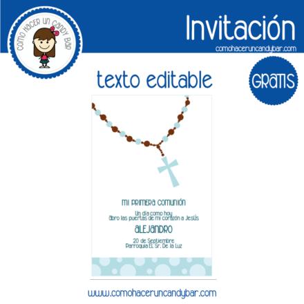Invitación de primera comunion niño 3 para descargar gratis