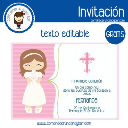 Invitación de primera comunión niña 6 para descargar gratis