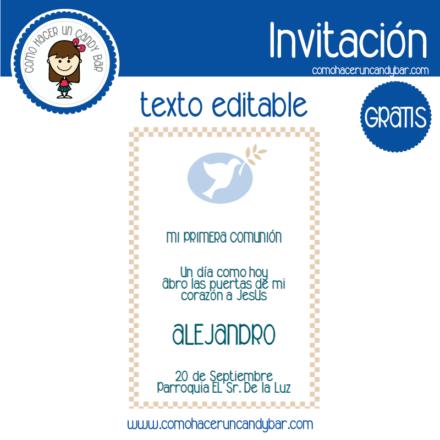 Invitación de primera comunión niño 3 para descargar gratis