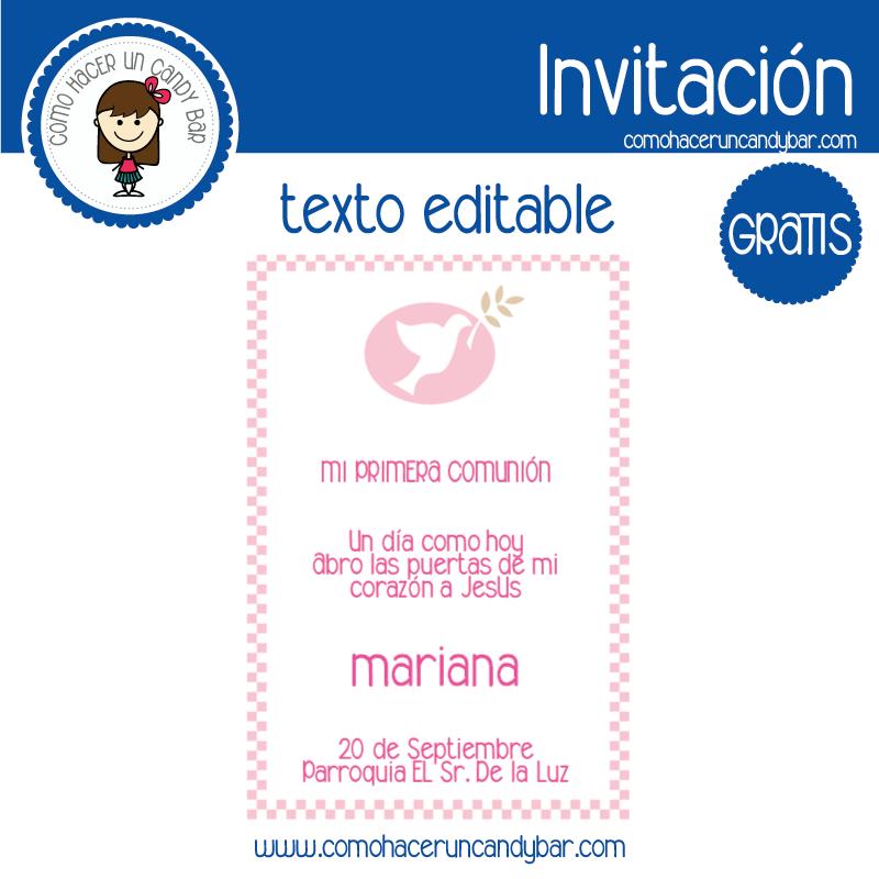 Invitación de primera comunion niña 2 para descargar gratis