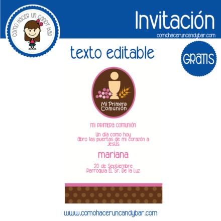 Invitación de primera comunion niña para descargar gratis