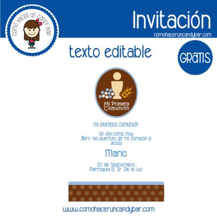 Invitación de primera comunion para descargar gratis