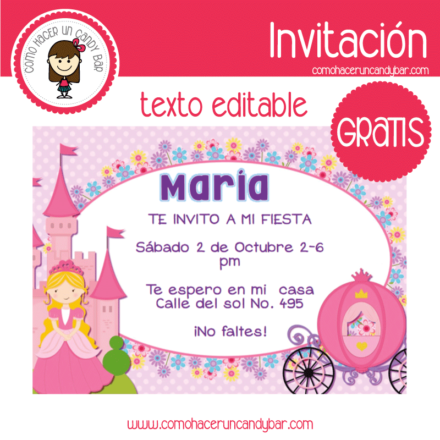 Invitación de princesa para descargar gratis