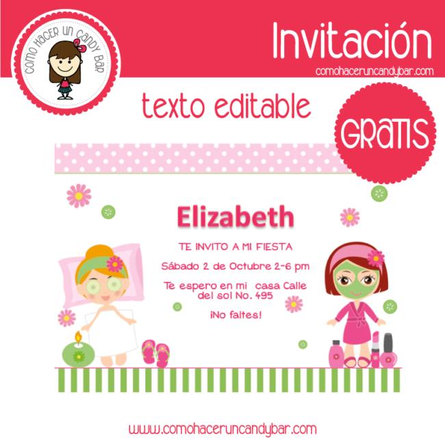 Invitación Editable Gratis Party Spa Kits Imprimibles