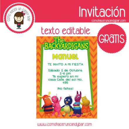 Invitación de backyardigans para descargar gratis