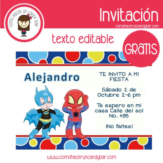 Invitación Editable Gratis Batman Spider Man Kits