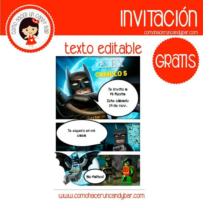 Invitación de batman lego para descargar gratis
