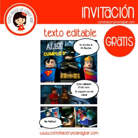 Invitación de batman lego 2para descargar gratis