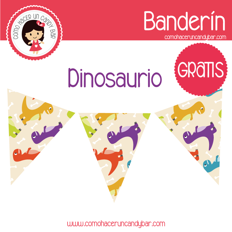 banderin dinosaurio para imprimir