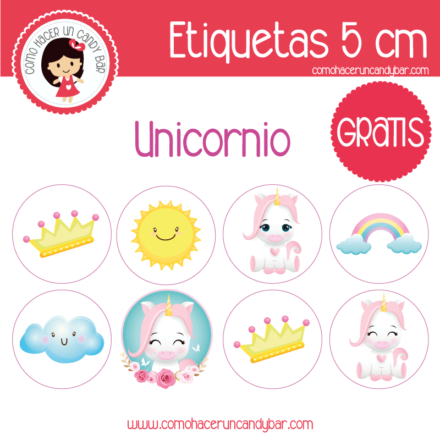 etiquetas gratis de unicornio bebe