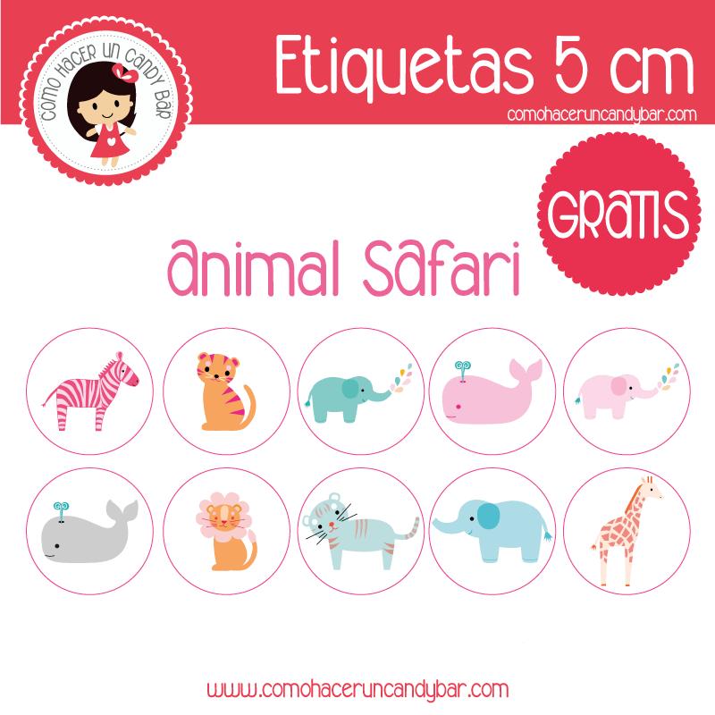 etiquetas circulares gratis de animales safari