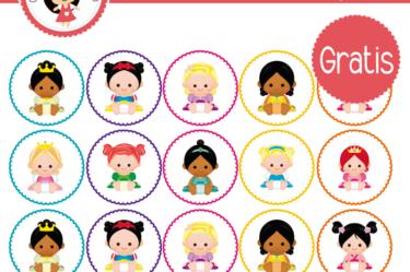 Princesas etiqueta para descargar gratis