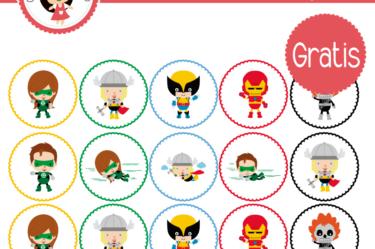 Super heroes etiqueta para descargar gratis