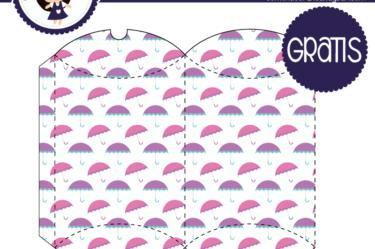 Cajita para imprimir gratis de paraguas