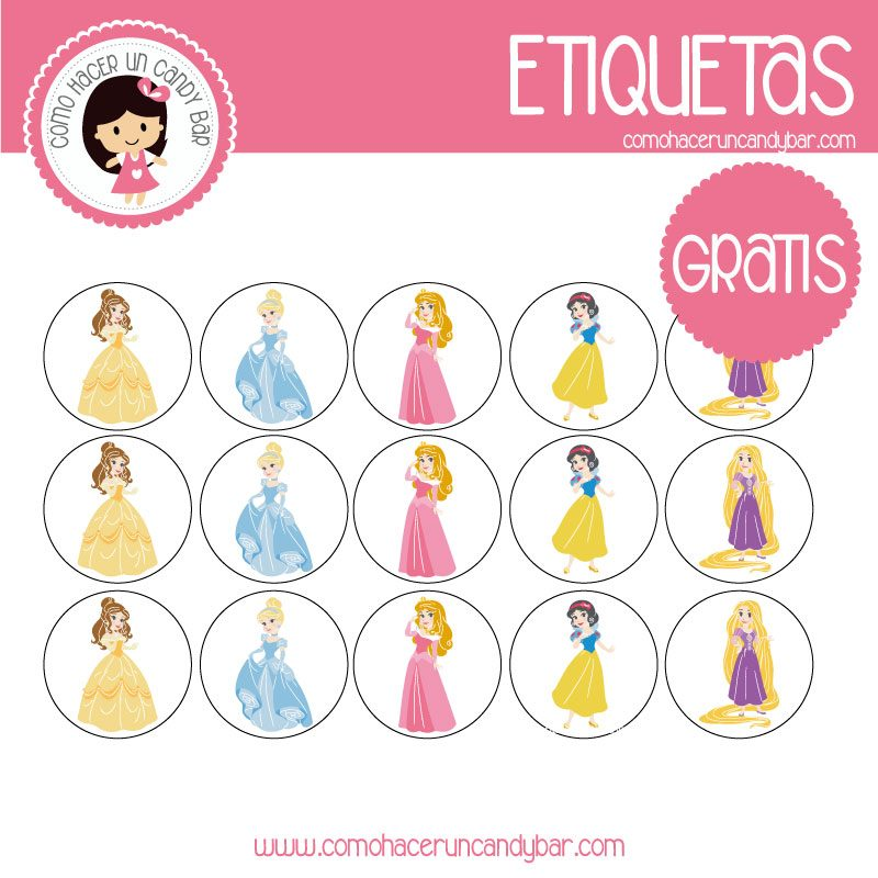 Etiquetas gratis de Princesas