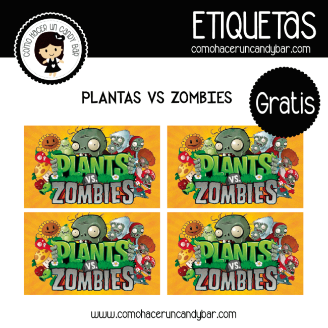 Etiquetas gratis de planta vs Zombies