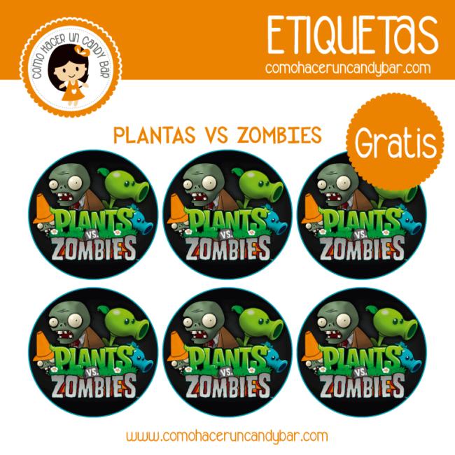 Etiquetas gratis de plantas vs Zombies
