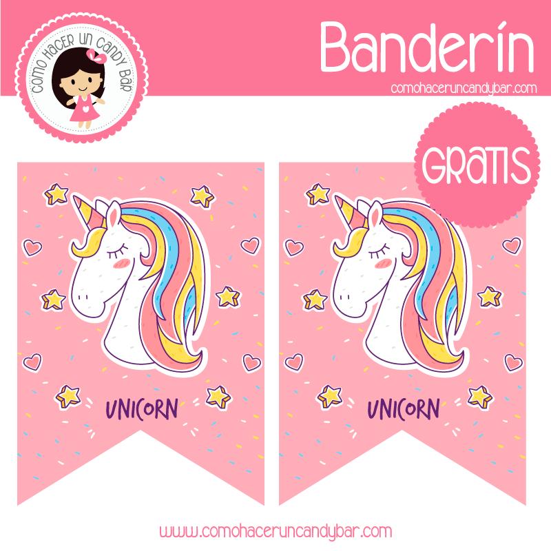 imprimibles gratis Imprimible banderín unicornio para descargar
