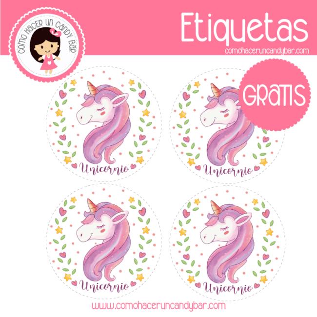 Unicornio Etiquetas Para Imprimir Kits Imprimibles Para Fiestas