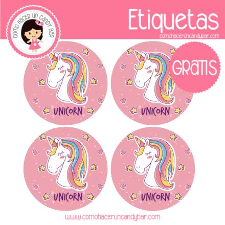 Etiquetas de unicornio descargables