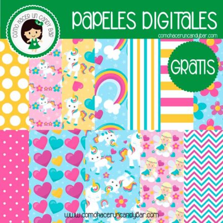 imprimibles gratis papeles digitales de unicornio gratis