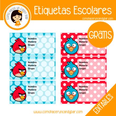Etiqueta Escolar para descargar gratis angry birds