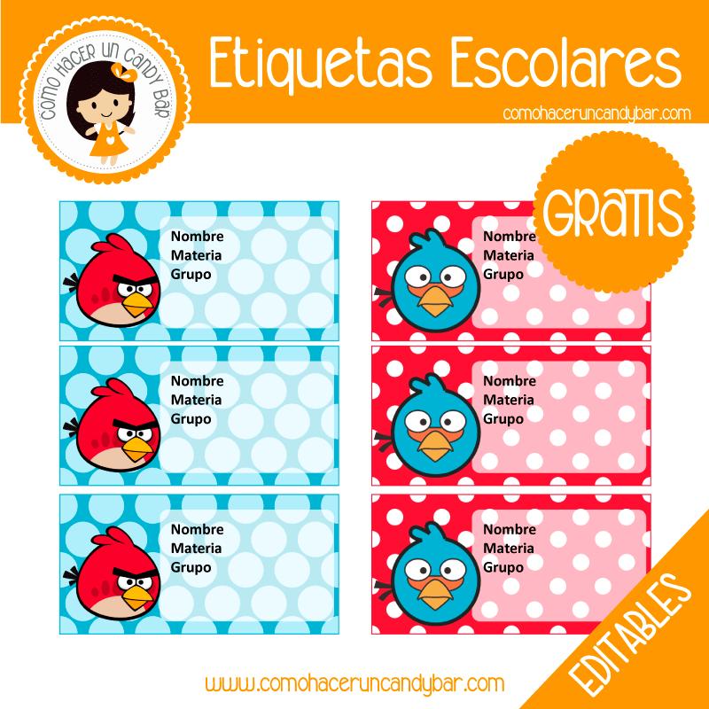 imprimibles gratis Etiqueta Escolar para descargar gratis angry birds