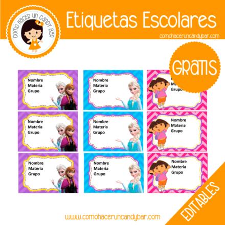 imprimibles gratis Etiqueta Escolar para descargar gratis frozen