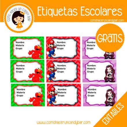 imprimibles gratis Etiqueta Escolar para descargar gratis mario y elmo