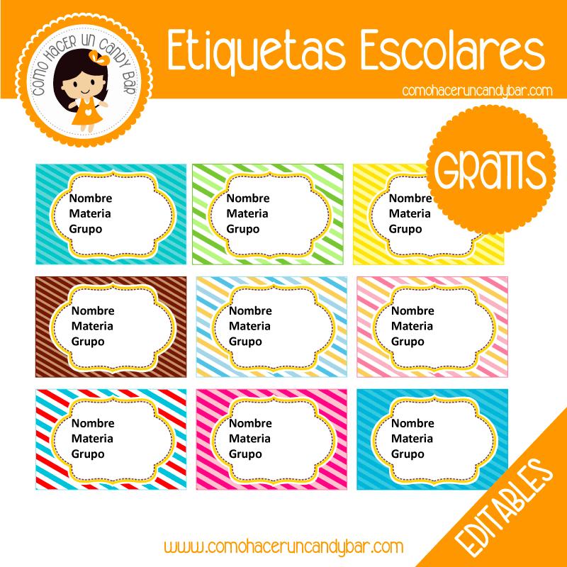 imprimibles gratis Etiqueta Escolar para descargar gratis lineas