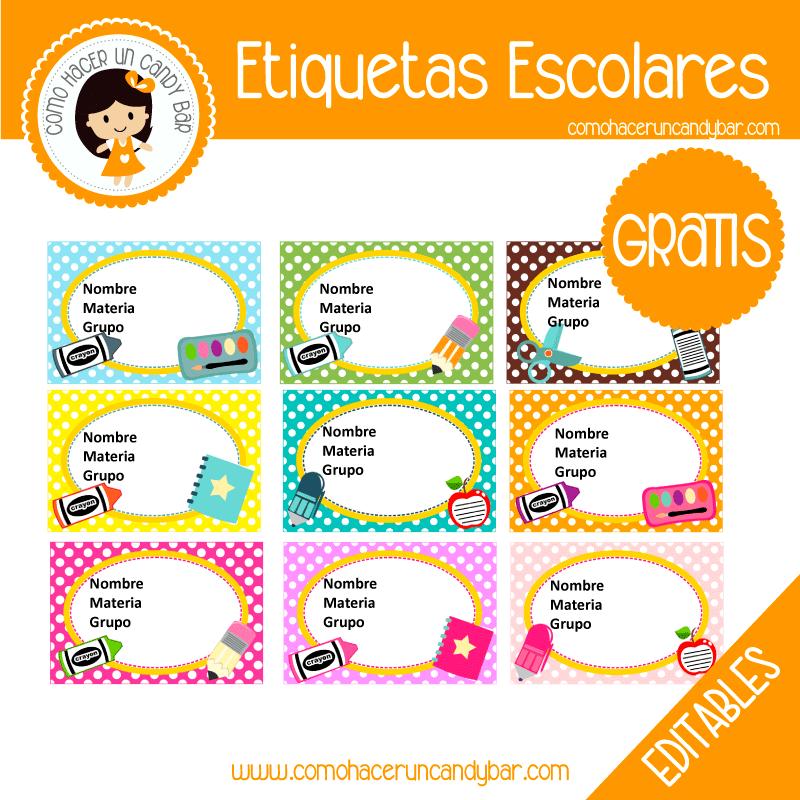 imprimibles gratis Etiqueta Escolar para descargar gratis lunares