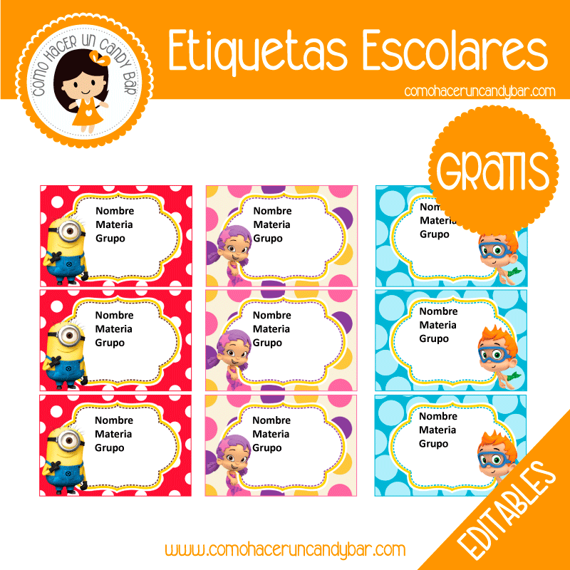 imprimibles gratis Etiqueta Escolar para descargar gratis minions