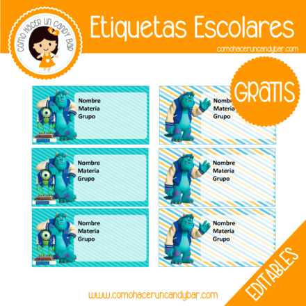 imprimibles gratis Etiqueta Escolar para descargar gratis monters inc