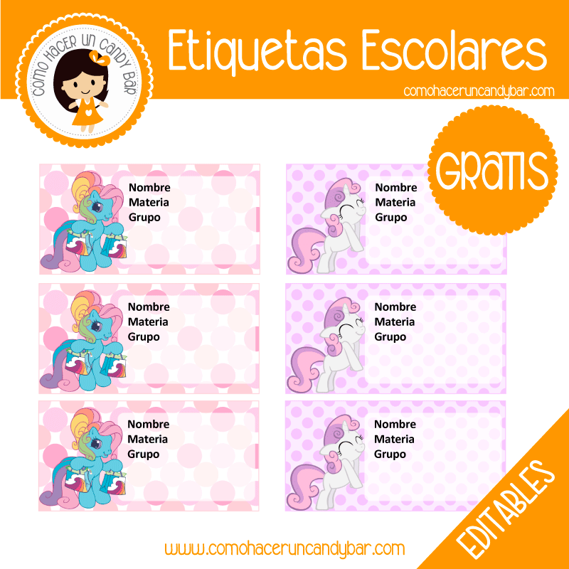 Etiqueta Escolar para descargar gratis my little pony