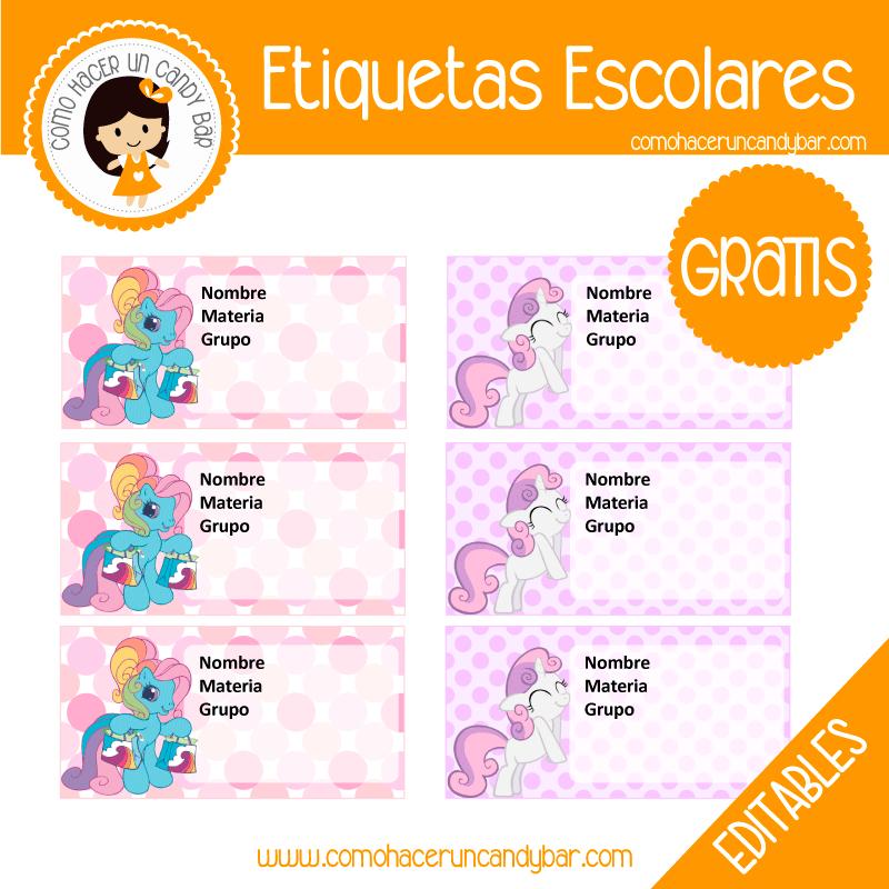 imprimibles gratis Etiqueta Escolar para descargar gratis my little pony