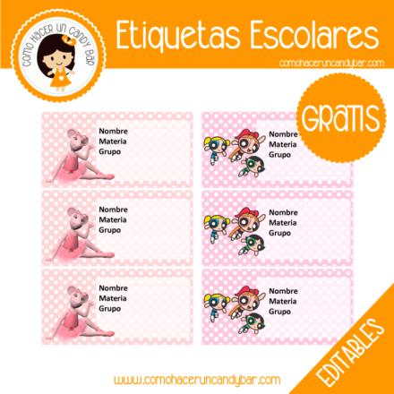 imprimibles gratis Etiqueta Escolar para descargar gratis chicas superpoderosas