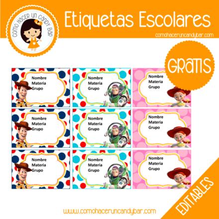 imprimibles gratis Etiqueta Escolar para descargar gratis toys story