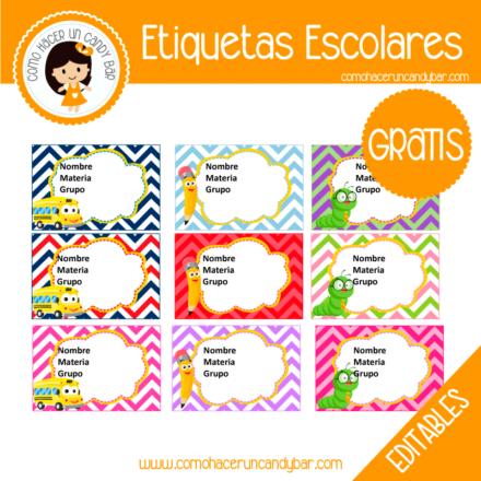 imprimibles gratis Etiqueta Escolar para descargar gratis
