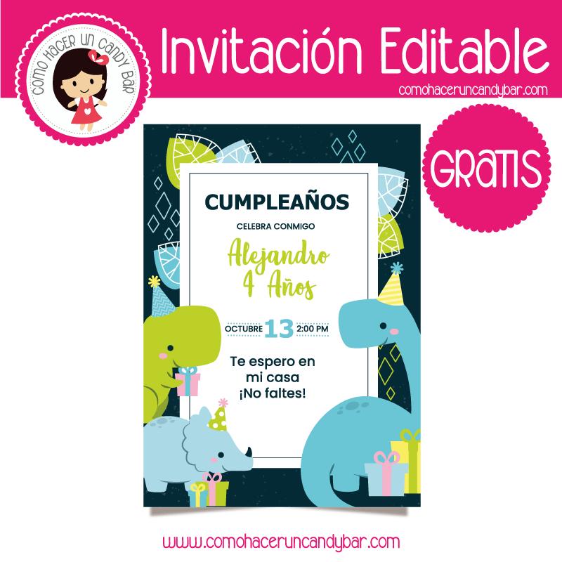 Invitacion editable gratis dinosaurio