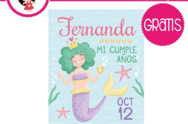 Invitacion editable gratis sirena