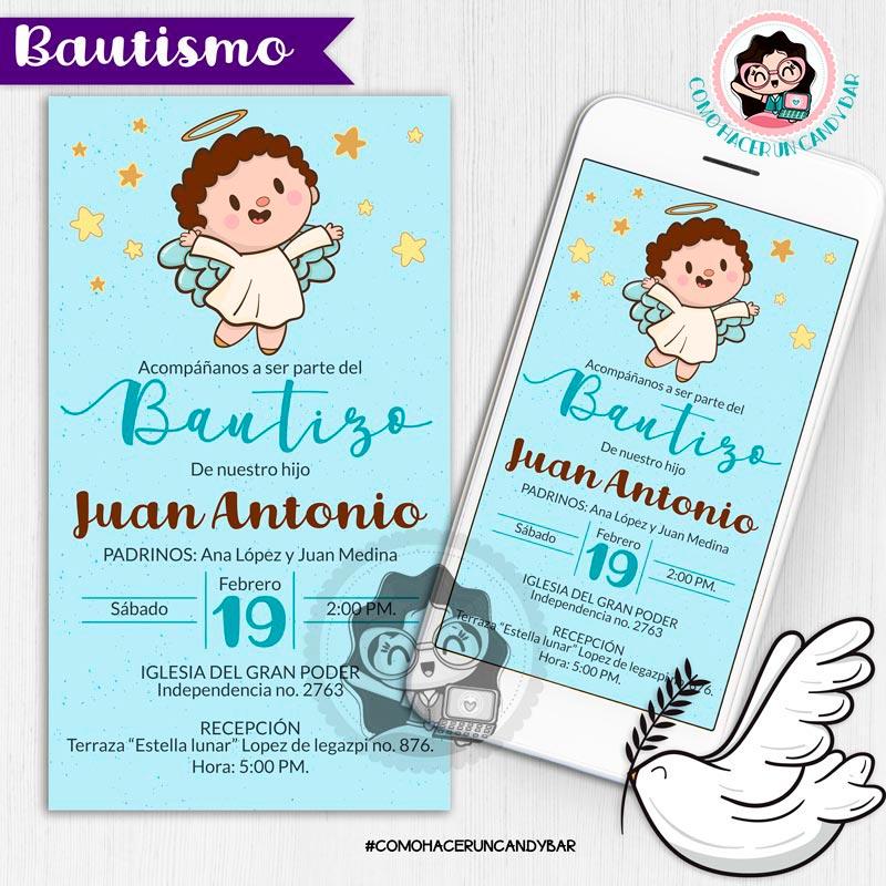 Invitación digital whatsapp bautizo kits imprimibles